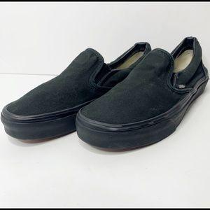 Vans all black slip ons womens 8 mens 6.5 shoe